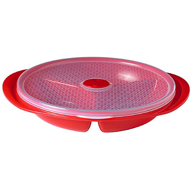 Microwave Cookware Stain Proof - Red Lidded Divided Dinner Plate