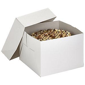 30cm Square White Flat-Pack Cardboard Cake Gift Box & Lid