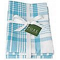 3 Bali Blue Jumbo Check Tea Towels