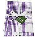 3 Prince Purple Jumbo Check Tea Towels