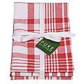 3 Red Jumbo Check Tea Towels