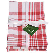 3 Red Jumbo Check Tea Towels