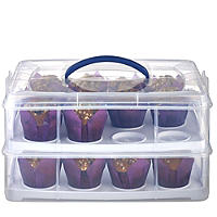 2 Tier Cake Carrier Caddy & Lid -