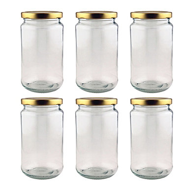 6 Standard Traditional Pickling Glass Jam Jars & Lids 1lb 454g