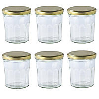 6 Faceted Small Gifting Glass Jam Jars &