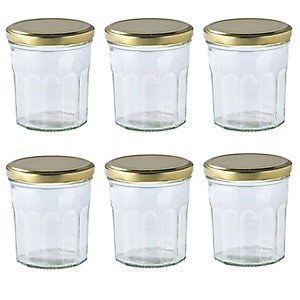 6 Faceted Small Gifting Glass Jam Jars & Lids 324ml
