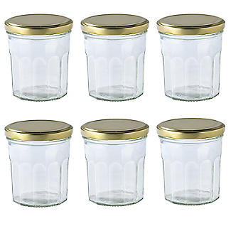 6 Faceted Small Gifting Glass Jam Jars & Lids 324ml alt image 1