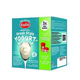 EasiYo Unsweetened Greek Style 500g Yogurt Sachet Mix (3 x 85g)