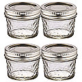 4 Ball® Mason Quilted Crystal Mini Glass Jam Jars & Lids 135ml