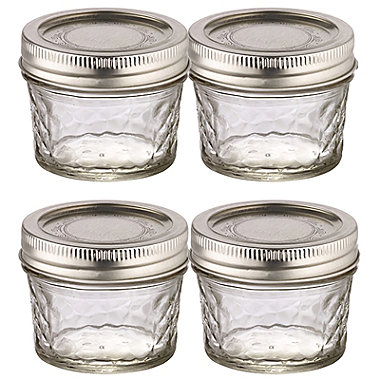4 Ball® Mason Quilted Crystal Mini Glass Jam Jars & Lids 135ml
