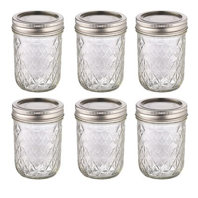 6 Ball Mason Quilted Crystal Small Glass Jam Jars Amp Lids 240ml