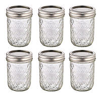 6 Ball® Mason Quilted Crystal Small Glass Jam Jars & Lids 240ml