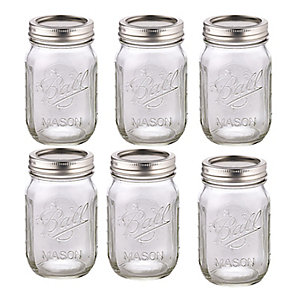 6 Ball® Mason Standard Glass Jam Jars & Lids 490ml