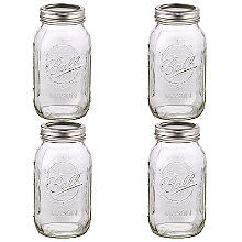 4 Ball® Mason Large Glass Jam Jars & Lids 945ml