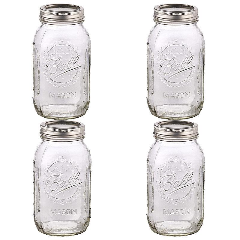 4 Ball® Mason Large Glass Jam Jars &