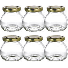 6 Globe Small Gifting Glass Jam Jars & Lids 212ml