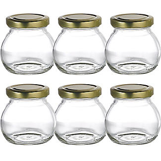 6 Globe Small Gifting Glass Jam Jars &