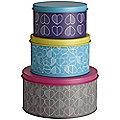 3 Lidded Nesting Round Cake & Biscuit Storage Tins - Hearts Design