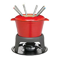 Masterclass Cast Iron Enamelled Red Fondue Set