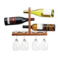 Bar Craft Wall-Mounted Wooden Wine Glass & Bottle