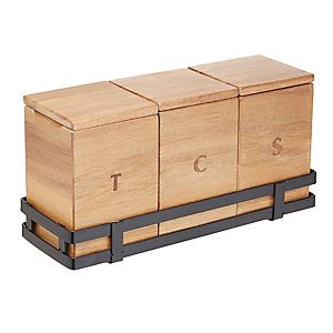 Natural Elements Acacia Wood Tea, Coffee & Sugar Storage Set