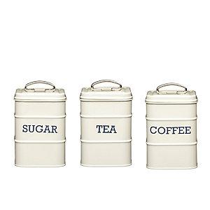 living nostalgia antique cream tea coffee sugar caddies. Black Bedroom Furniture Sets. Home Design Ideas