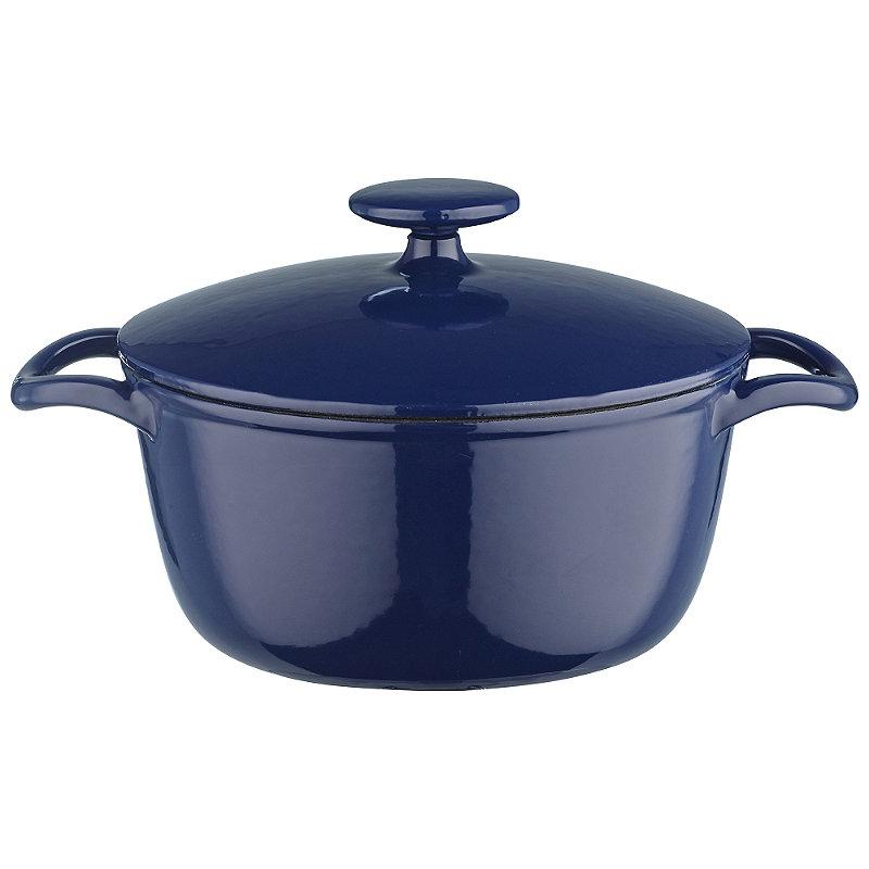 20cm Midnight Blue Round Cast Iron Casserole