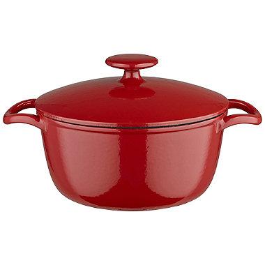 Lakeland 20cm Paprika Red Round Cast Iron Casserole