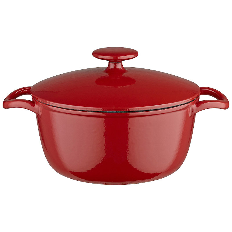 20cm Paprika Red Round Cast Iron Casserole