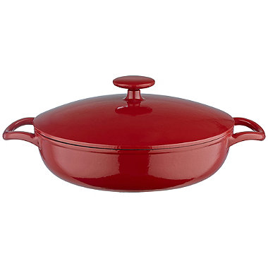Lakeland 26cm Paprika Red Round Shallow Cast Iron Casserole