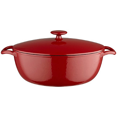Lakeland 30cm Paprika Red Oval Cast Iron Casserole