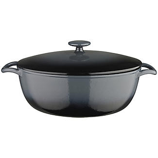 30cm Grey Ombre Oval Cast Iron Casserole