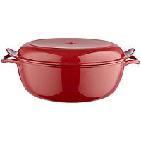 Lakeland 30cm Paprika Red Cast Iron Oval Casserole With Bake Lid