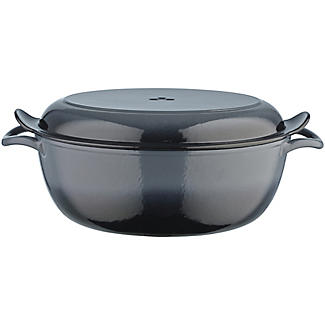Lakeland 30cm Grey Ombre Cast Iron Oval Casserole With Bake Lid