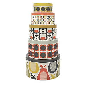 5 Lidded Nesting Round Cake & Biscuit Storage Tins - Orla Kiely Pear