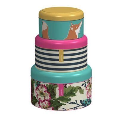 joules lidded nesting cake biscuit storage tins set of 3. Black Bedroom Furniture Sets. Home Design Ideas