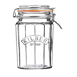 Kilner® Large Clip Top Faceted Glass Jam Jar & Lid 950ml