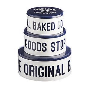 3 Lidded Nesting Cake & Biscuit Storage Tins - Mason Cash Varsity