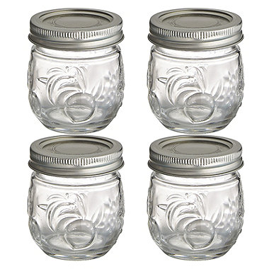 4 Ball® Fruit Design Small Glass Jam Jars and Lids 240ml