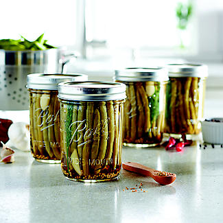 6 Ball® Wide Mouth Embossed Glass Jam Jars and Lids 490ml alt image 2