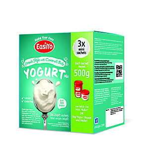 EasiYo Greek With Coconut 500g Yogurt Sachet Mix (3 x 120g)