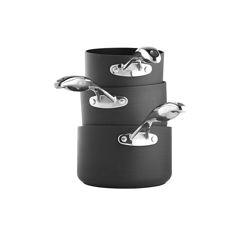 Hard Anodised 3-Piece Saucepan Set