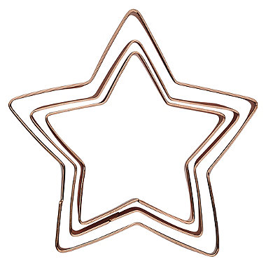 3 Copper Plated Star Cookie Cutters