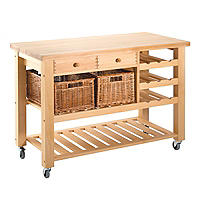 Two Drawer Lambourn Trolley with Wine Rack