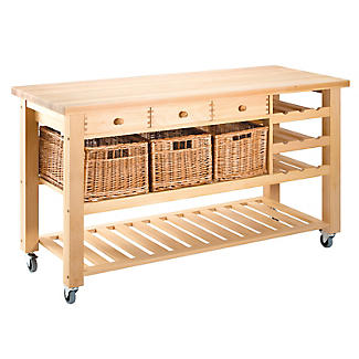 Three Drawer Lambourn Trolley with Wine Rack