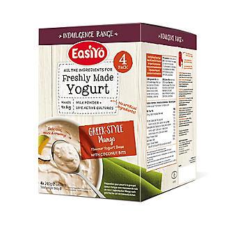 EasiYo Greek-Style Mango with Coconut Bits 1kg Yoghurt Sachet Mix (4 x 240g)