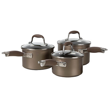 Anolon Advanced 3-Piece Glass-Lidded Saucepan Set Umber