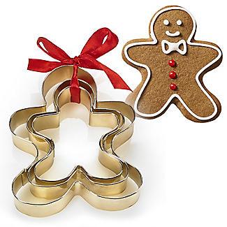 Golden Gingerbread Men Cookie Cutters Set of 3