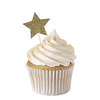Gold Glitter Star Cake Toppers 12 Pack