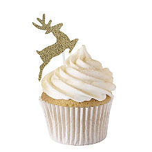 Gold Glitter Reindeer Cake Toppers 12 Pack